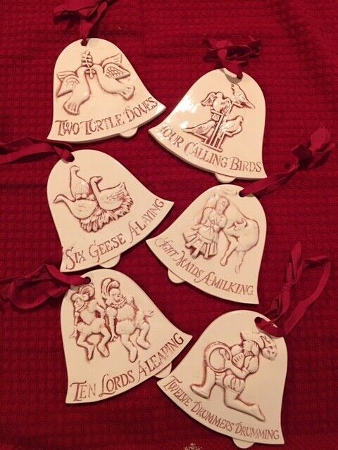 12 Days of Christmas Ceramic Bell Shaped Ornaments 2 Sided Embossed MINT