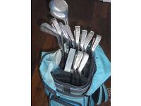 Mixed set of Golf clubs & bag