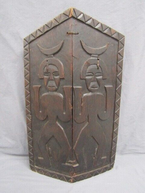 West African carved wood Shield  20 inches tall