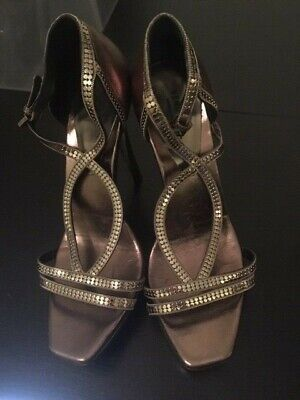 Vtg Versace Leather High Heels Metallic Dark Silver Bronze Strappy Sandals 38