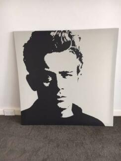 IKEA large canvas wall prints - James Dean, old time clock