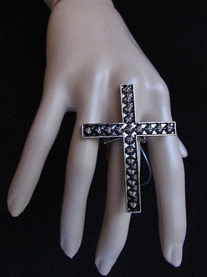 (New Women Statement Metal Big Cross Fashion Elastic Ring Silver Spikes Religious)