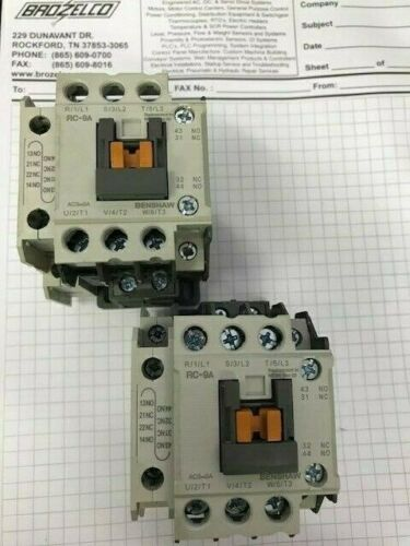 USED  LOT of 2   Benshaw RC-9A / RC9A  9 AMP contactor W/ 1 Auxiliary Contact