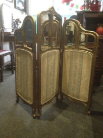 Adorable Antique French Style Carved Gilt & Mirror 3 Panel Fabric Fire Screen