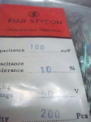 100pf X 50 V .. Styroflex Fuji Stycon Made In Japan Lot Of 200 Pcs