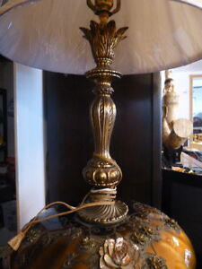 antique lamps,brass, blown glass with pewter West Island Greater Montréal image 3