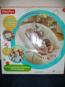 Fisher-Price My Little SnugaMonkey Deluxe Bouncer, New in box