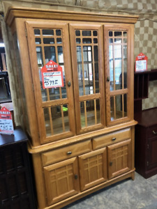 SOLID OAK BUFFET $550 AND MATCHING SIDEBOARD $299