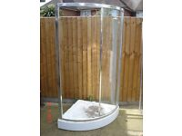 Corner shower screen / enclosure corner sliding door Base available if required.