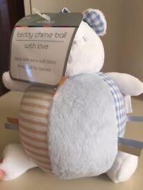 Kiddicare Baby Teddy Chime Ball - Blue-Boy, Newborn Gift, NEW