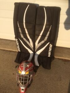 Road hockey goal pads and mask