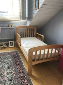 Children's single wooden bed and mattress from John Lewis - Excellent condition with mattress