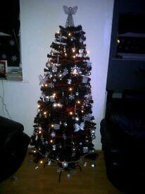Black 5ft Christmas Tree with 160 white LED lights
