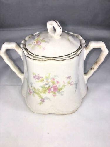 Vintage Collectible China  Sugar Bowl with Handles and Lid Gold Rim Roses