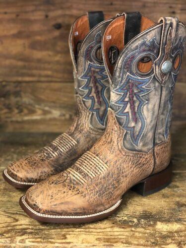 Dan, Post, Mens, Tan, &, Brown, Distressed, Bison, Square, Toe, Western, Boots, DP3988