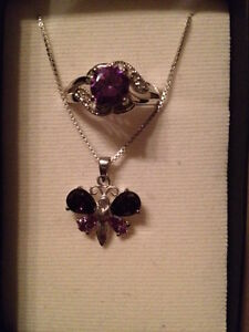 Amethyst ring and butterfly necklace Kitchener / Waterloo Kitchener Area image 1