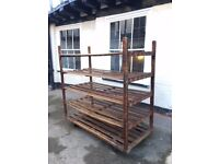 Vintage wooden pastry shelving unit on wheels - perfect for shop display or home storage