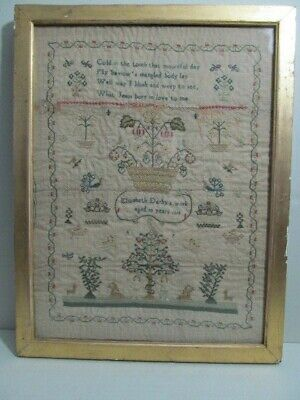 Antique English sampler 1818 by 10 year old Elizabeth Darby