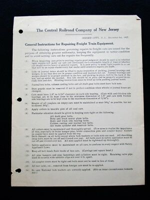 1927 CENTRAL RAILROAD COMPANY OF NEW JERSEY - Repairing Freight Train Equipment
