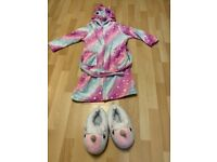 7-9 year old unicorn dressing gown and slippers - perfect condition