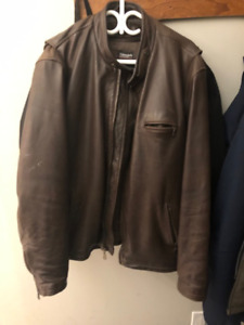 Men's Leather Motorcycle Jacket - XXL - Brown - Moving Sale