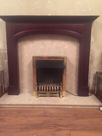 Mantlepiece, electric fire and display cabinet for sale