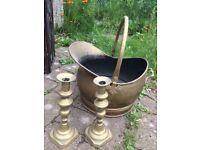 Brass Hod and candlesticks