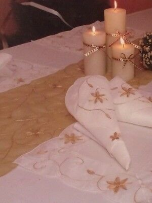Luxury polyester embroidered table runner, 4 place mats, napkins and ring set