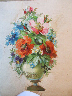wunderschöne alte Präge Oblate Glanzbild Blumen Amphore um 1890 ca. 10 x 6 cm