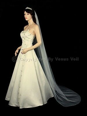 1T Ivory Bridal Chapel Length Cut Edge Wedding Veil Cut Edge Wedding Veil