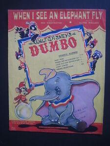 Walt Disney's Dumbo Original Sheet Music When I See An ...