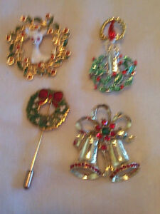 4 Vintage Christmas Brooches