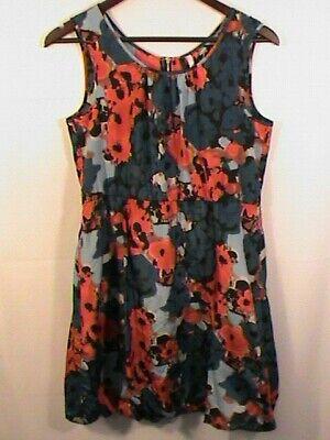 KENSIE bubble dress M scoop-neck sleeveless floral sundress red blue black -