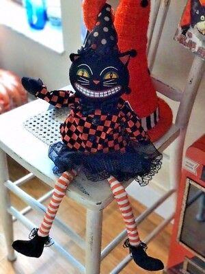 Queenwest Halloween Scary Black Vintage Style Cat Head Shelf-Sitter Rag Doll