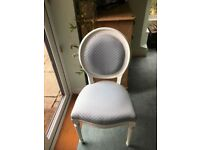 Beautiful light Blue diamond pattern upholstered Chair with Carved Frame.