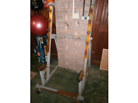 Well used rusty squat rack, a decent standard barbell, AND dumbells,ideal for outside CHEAP