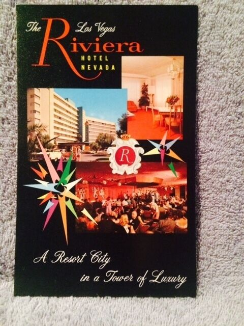 Riviera Hotel Casino Entrance & Showroom View Old Logo Postcard Vegas 5¢ Stamp