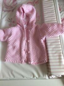 Newborn baby girls pink thick woven hooded cardigan