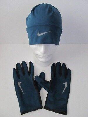 bb2297abf59 Nike Dri-Fit Men s Running Beanie Glove Set Space Blue Anthracite L XL New