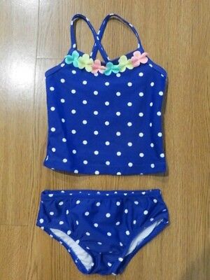 (NEW CARTER'S TODDLER GIRLS SWIMSUIT 2 PIECE POLKA DOT TANKINI  UPF+50 12M, 24M)
