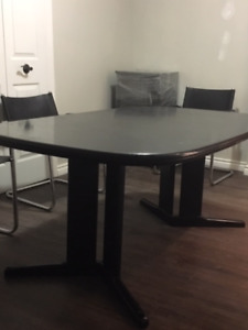 Black dining table for 6 $125.00 & black leather chairs $80 ea.