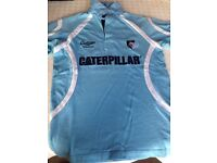 *LEICESTER TIGERS* Rugby Shirt Top Sportswear Mens Size Small Blue & White