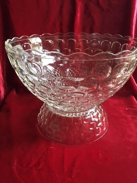 2 PCS PUNCH BOWL & BASE  FEDERAL CLEAR GLASS YORKTOWN TUMBPRINT COLONIAL JUBILEE