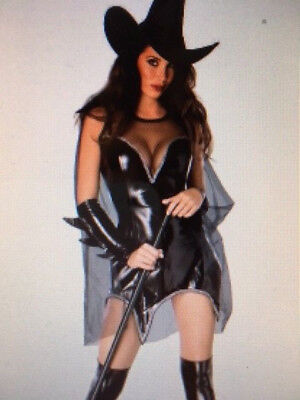 Womens NAUGHTY WITCH leather effect HALLOWEEN HORROR Fancy Dress Costume Outfit - Naughty Witch Costume