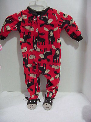 - Carter's Boys Red Footed Moose Pajama  size 24M