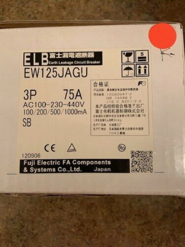 Fuji Electric EW125JAGU 3P075 EARTH LEAKAGE CIRCUIT BREAKER NEW