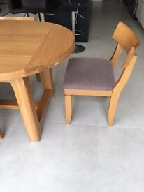 Solid wood oval table and 6 chairs