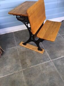 antique pine student desks with wrought iron legs