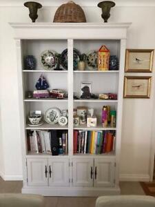 WHITE FRENCH BOOKCASE WITH CUPBOARDS
