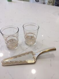 Vintage french 'toi and moi' glasses plus vintage cake slice